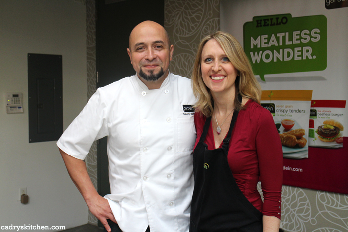Cadry Nelson and Chef Roberto Martin in the Gardein tasting kitchen.