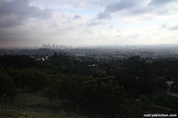 Los Angeles skyline from Griffith Park helipad.