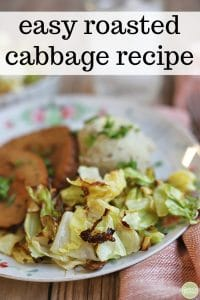 Text overlay: Easy roasted cabbage recipe. Cabbage on plate with mashed potatoes and seitan slices.