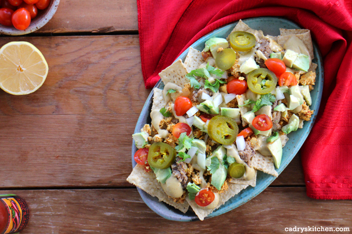Breakfast Nachos with Refried Beans & Cashew Queso