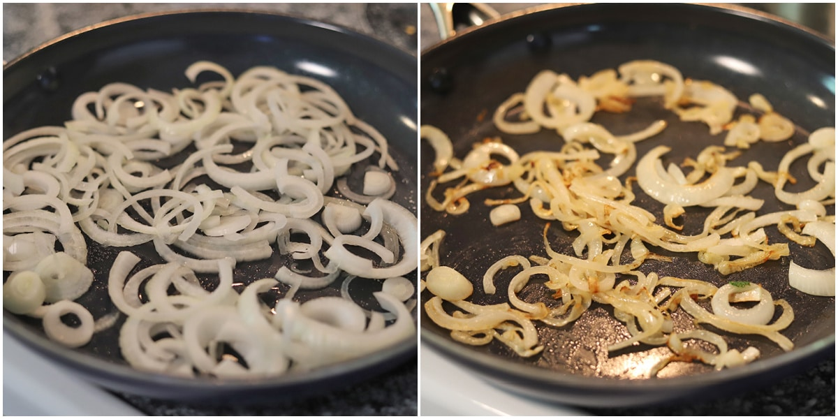 Collage with onions in skillet by caramelized onions.