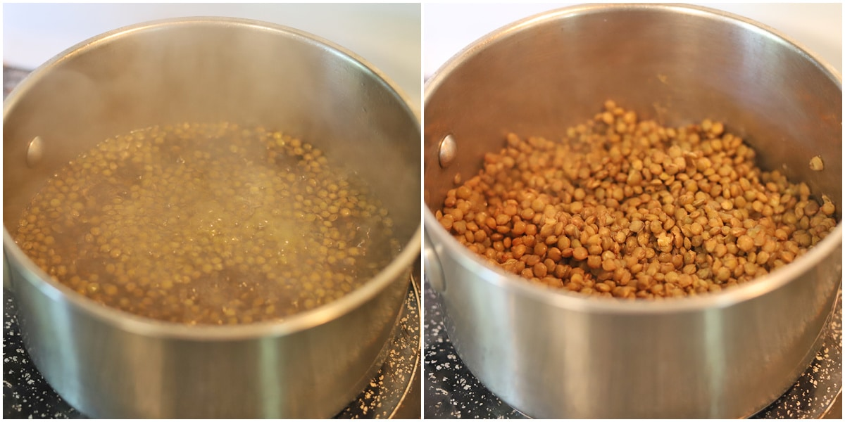 Collage with lentils cooking in water & fully cooked lentils.