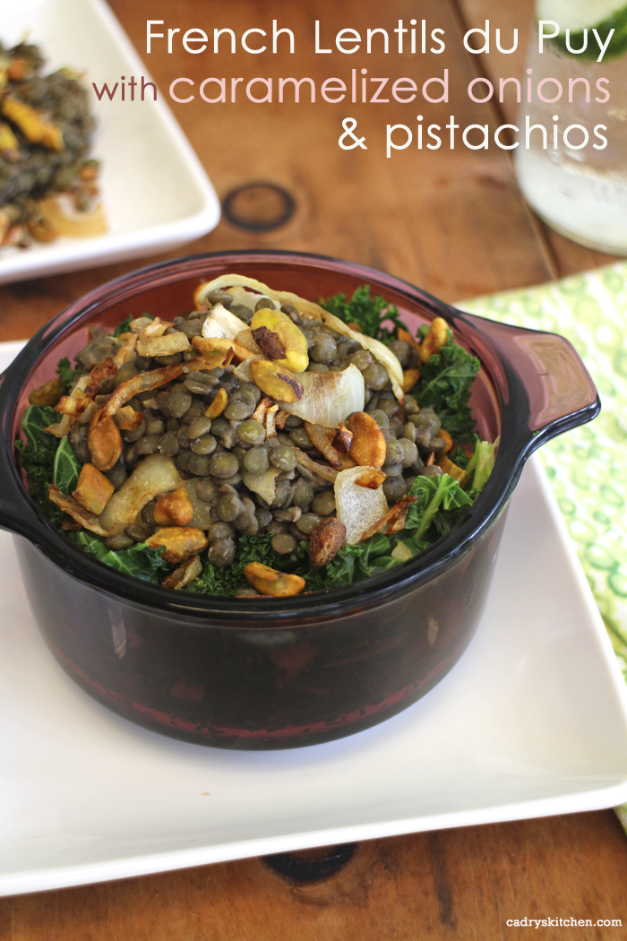 French lentils du Puy with caramelized onions & pistachios + A trick to help easily open pistachios every time | cadryskitchen.com