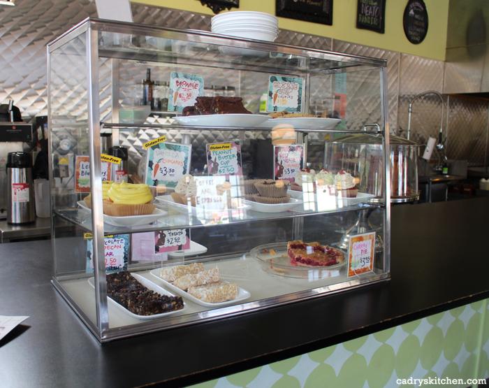 Dessert case at Spiral Diner - an adorable vegan diner in Dallas, Texas | cadryskitchen.com