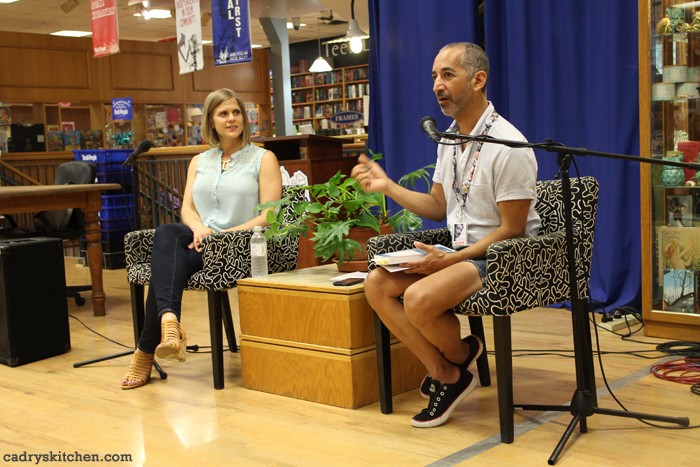 Kristy Turner giving an interview at Book People in Austin, Texas.