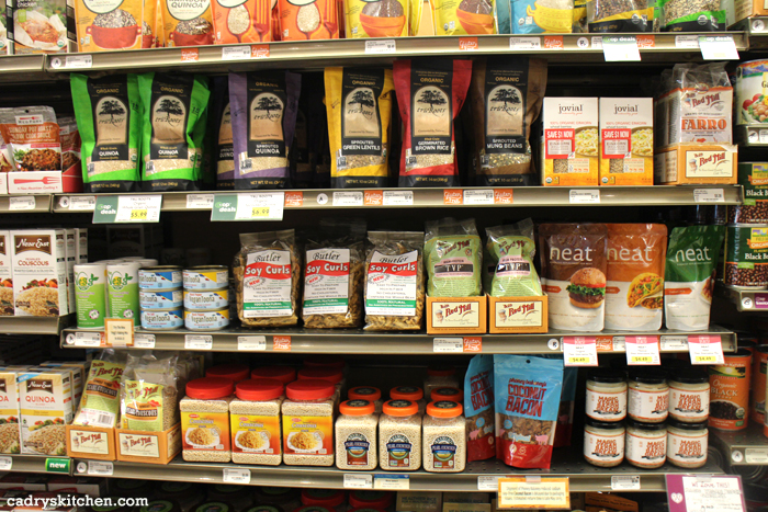 Products on display shelves in Wheatsville Co-op.