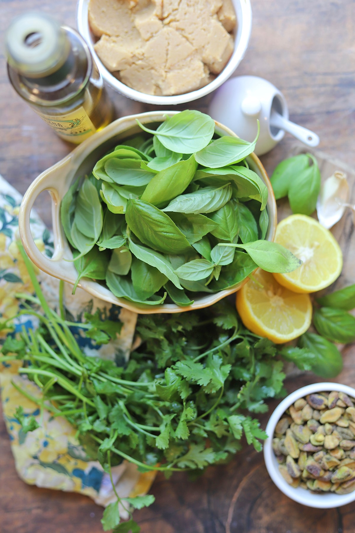 Overhead cilantro basil pistachio pesto ingredients.