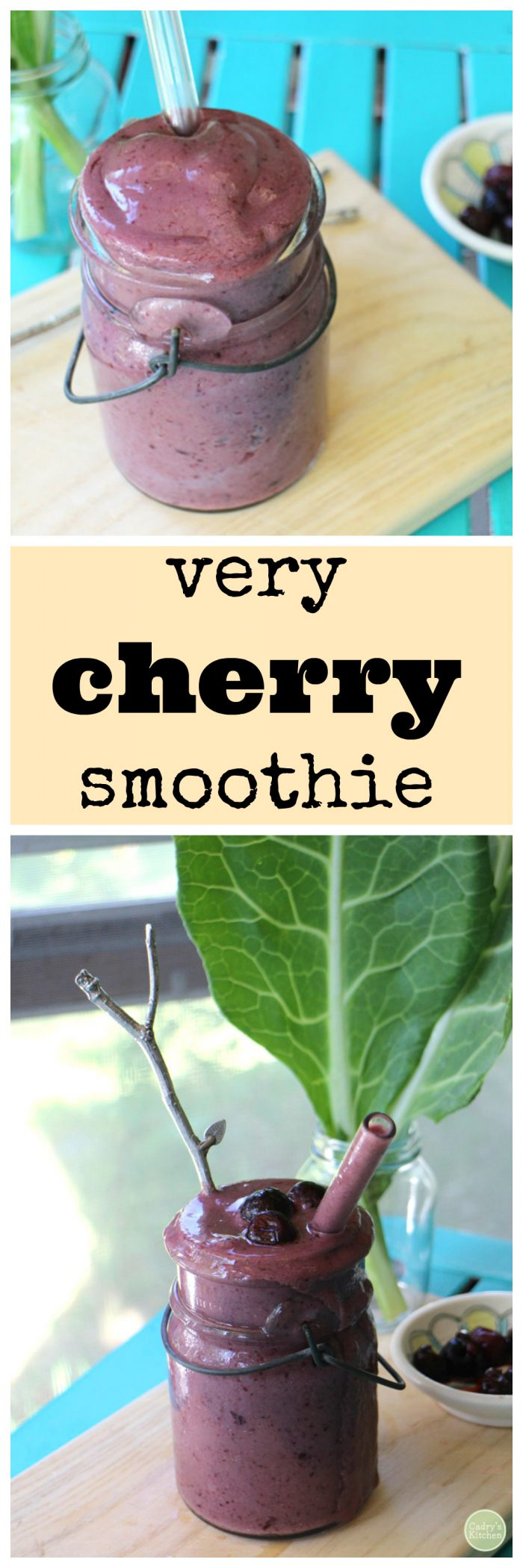 Cherry smoothie in glass jar with collard leaves + text.