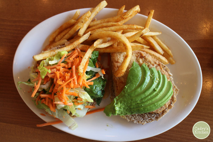 Chicken run ranch sandwich with fries at Native Foods.