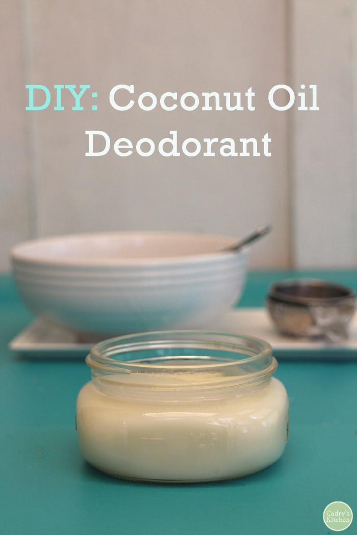 Coconut oil deodorant in jar.