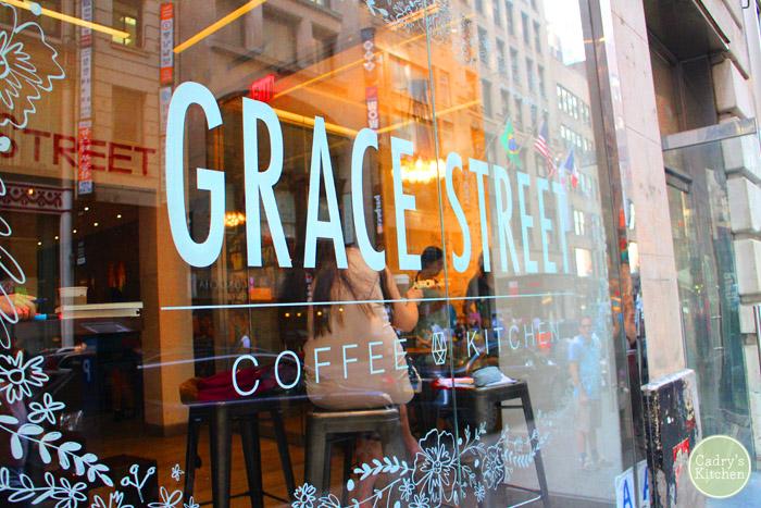 Glass window of Grace Street Coffee & Kitchen.