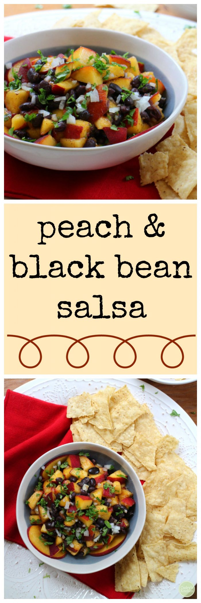 Sweet and spicy! Peach and black bean salsa | cadryskitchen.com