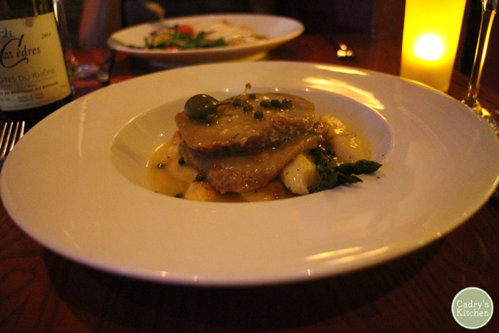 Seitan piccata with capers and potatoes at Candle 79.