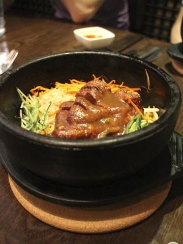 Seitan chicken in stone bowl at Franchia.
