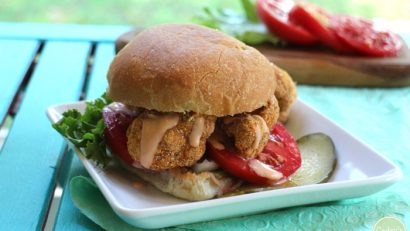 Spicy Cauliflower Po'Boy sandwich from Easy Vegan by Kathy Hester | cadryskitchen.com #vegan