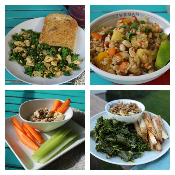 Collage of meals: Tofu scramble & toast, hummus, carrots and celery, pineapple fried rice, and lentils with greens & fries.