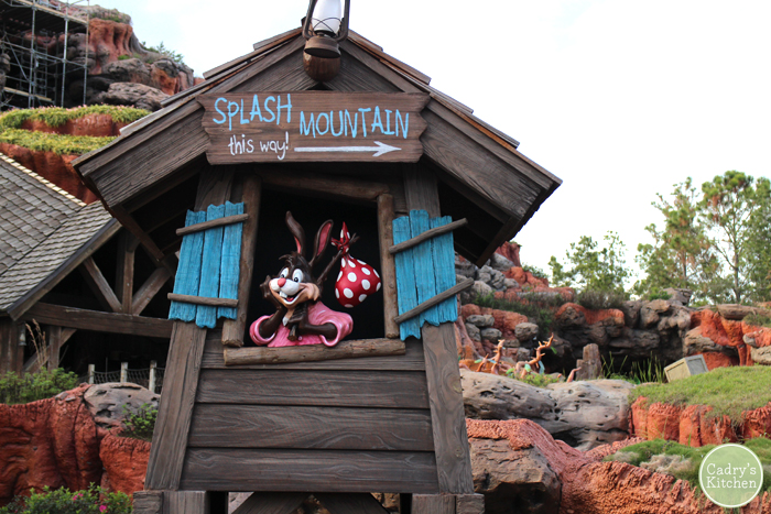 "Brer Rabbit statue with sign that says, ""Splash Mountain this way."""