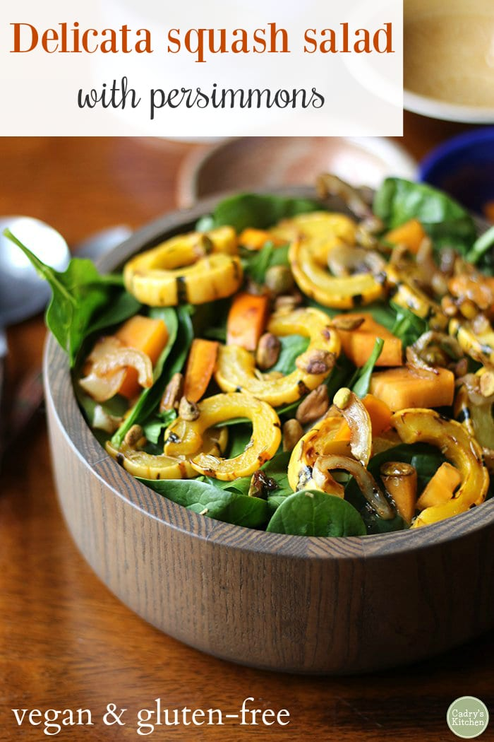 Autumnal delicata squash salad with caramelized onions and persimmons. #Vegan #Glutenfree