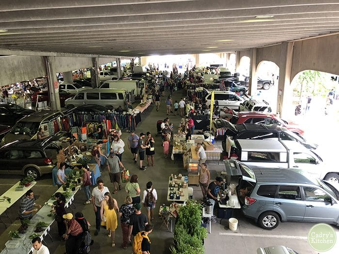 Iowa City farmers market at the Chauncey Swan ramp in downtown Iowa City.