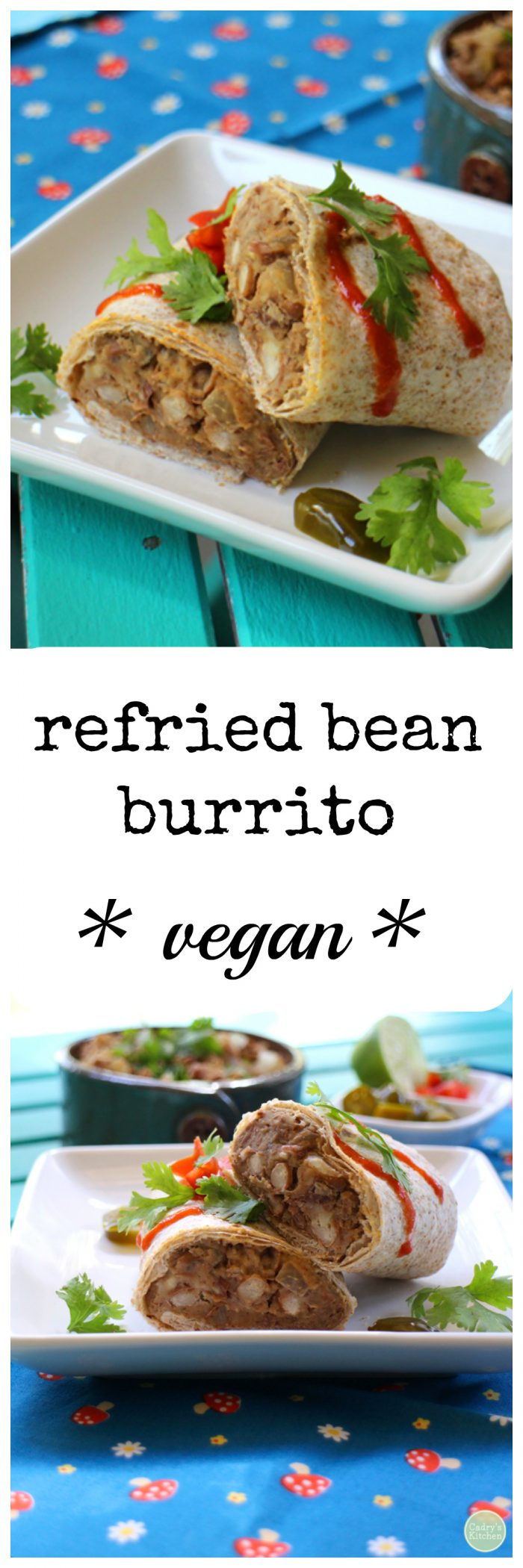 A cozy & comforting lunch - refried bean burrito | cadryskitchen.com #vegan