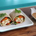 Spring roll-inspired vegan wraps with peanut sauce