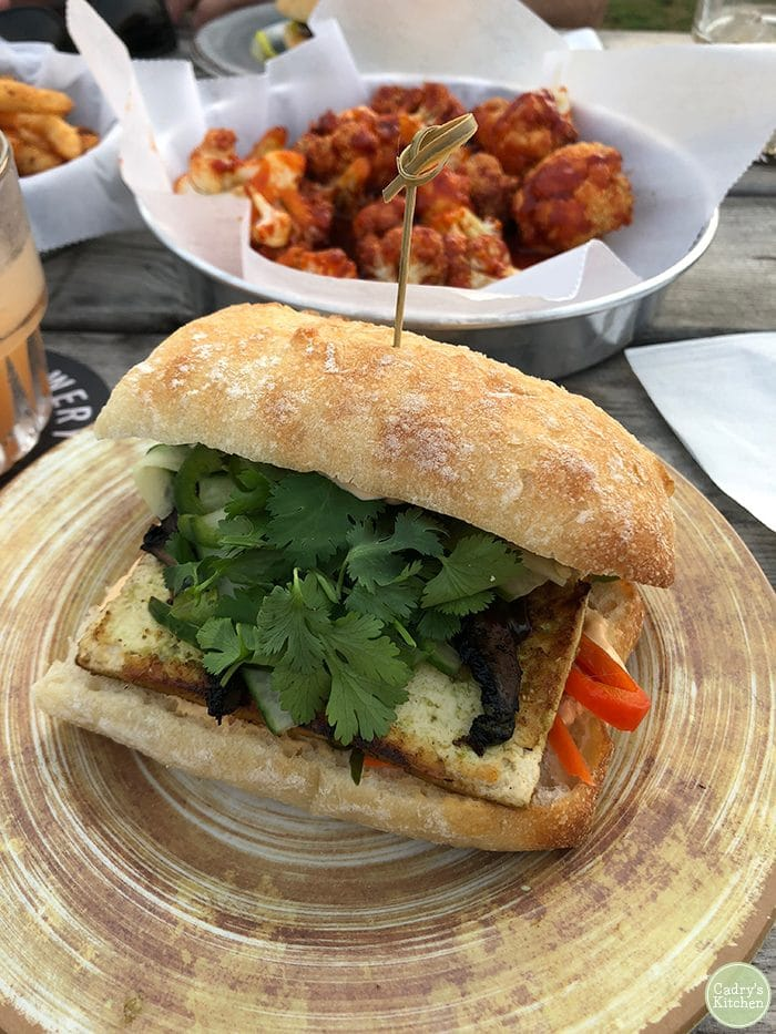 Tofu banh mi sandwich on plate at Big Grove Brewery in Iowa City.