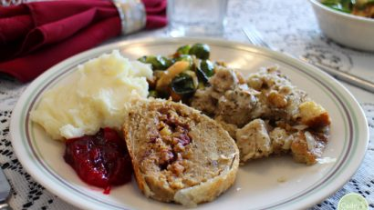 Vegan Thanksgiving plate with roast, mashed potatoes, and cranberry sauce.