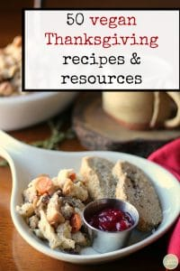 Text: 50 vegan Thanksgiving recipes & resources. Thanksgiving platter with vegan roast, stuffing, and cranberry sauce.