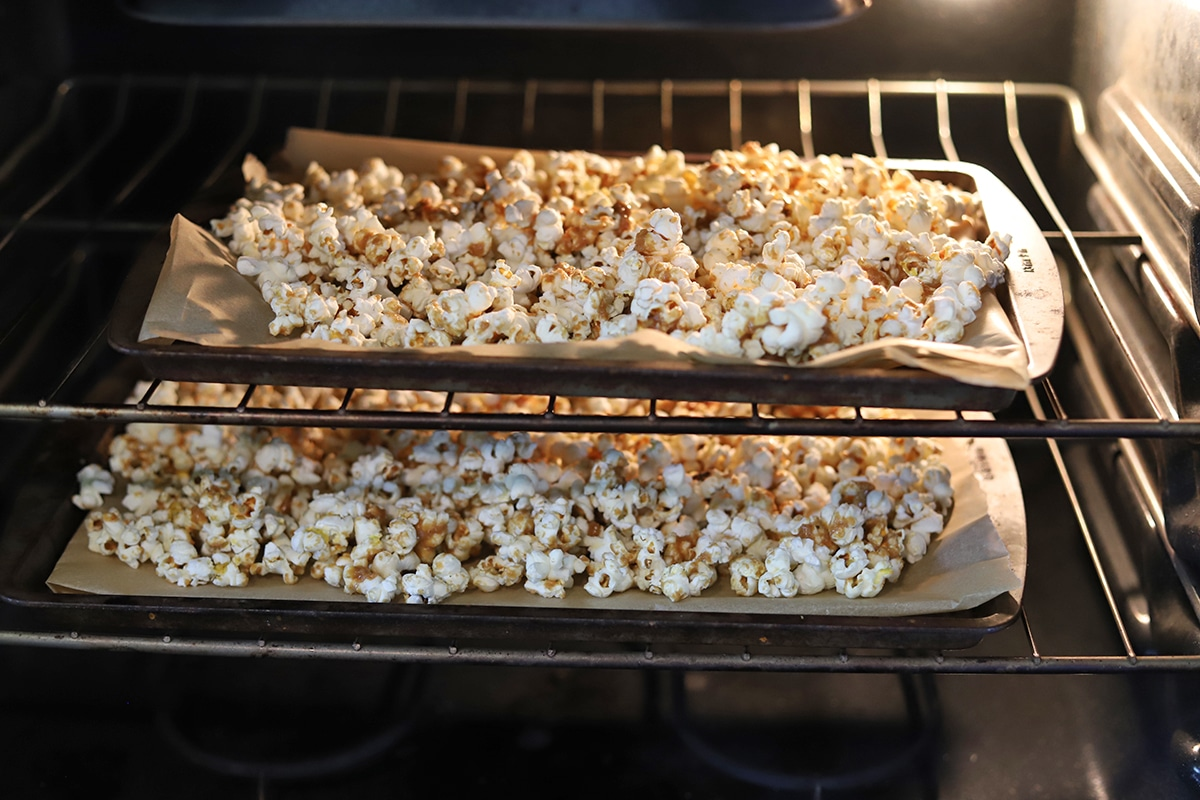 Popcorn on baking sheets in oven.