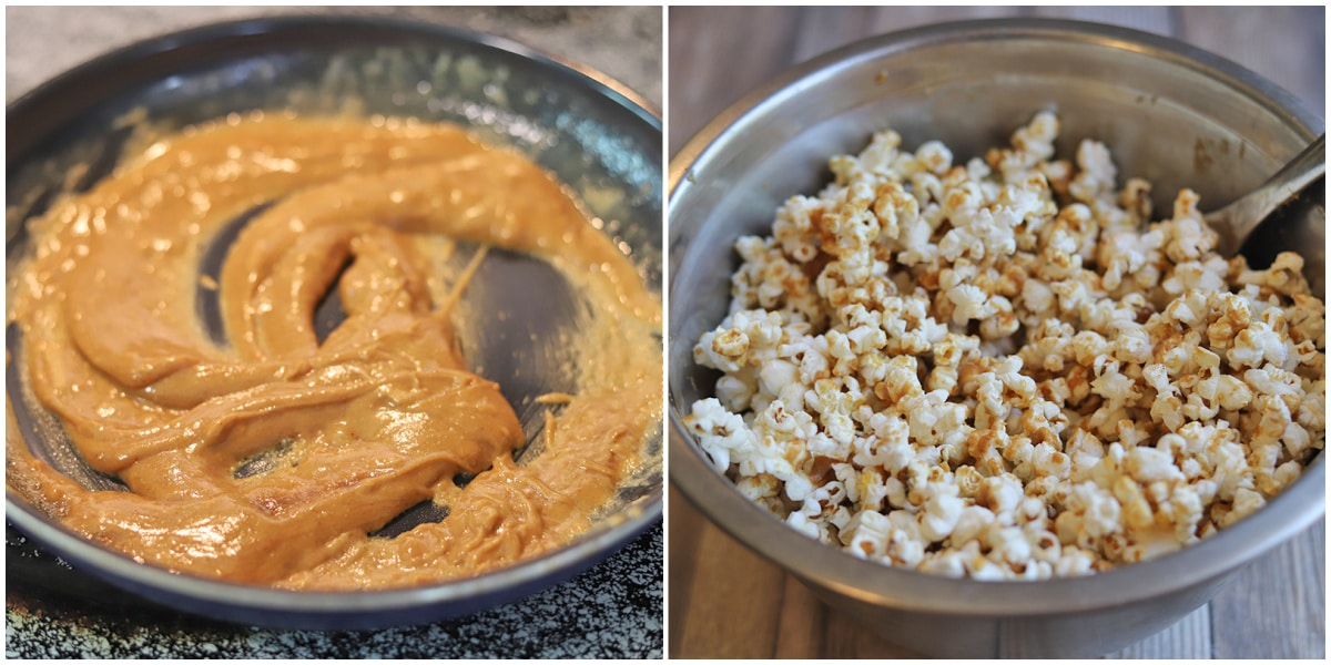 Collage with melted peanut butter sauce and coated popcorn in bowl.