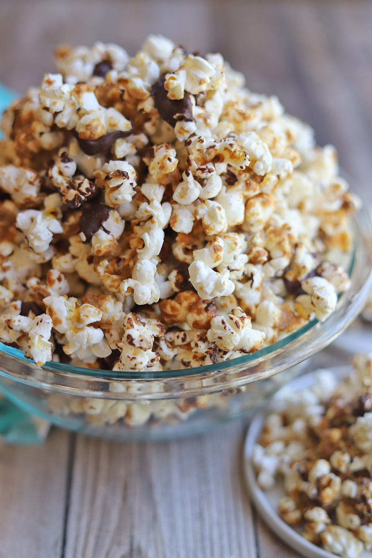 Peanut butter chocolate popcorn in a bowl.