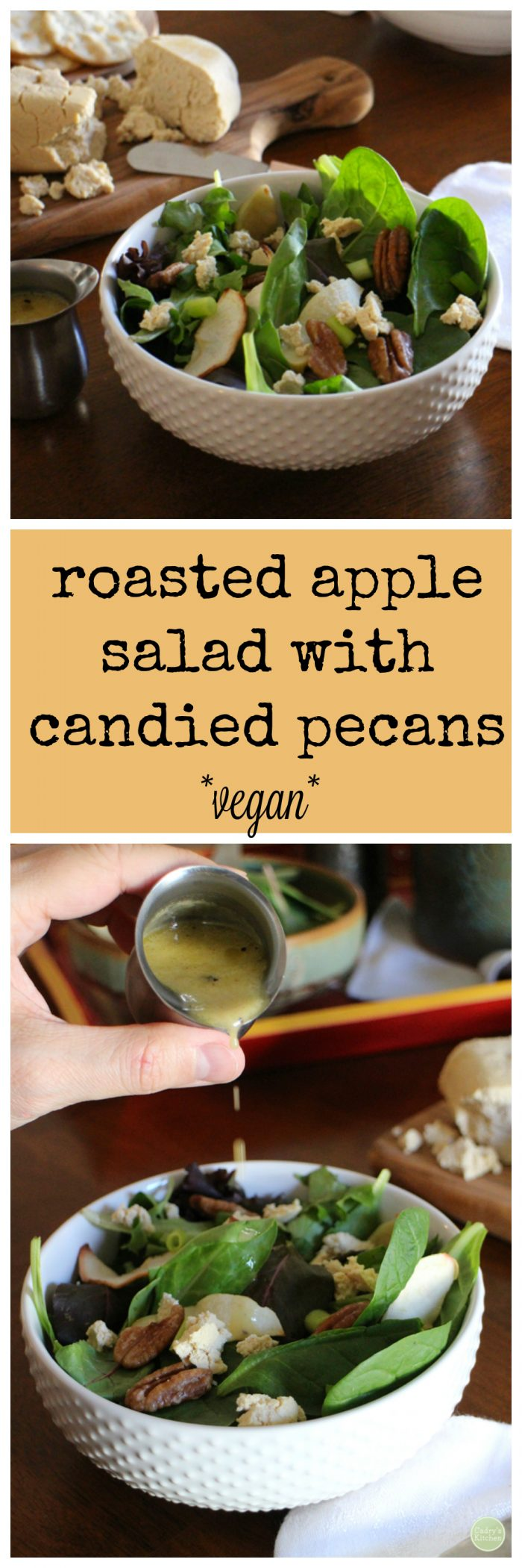 Roasted apple salad with candied pecans | cadryskitchen.com