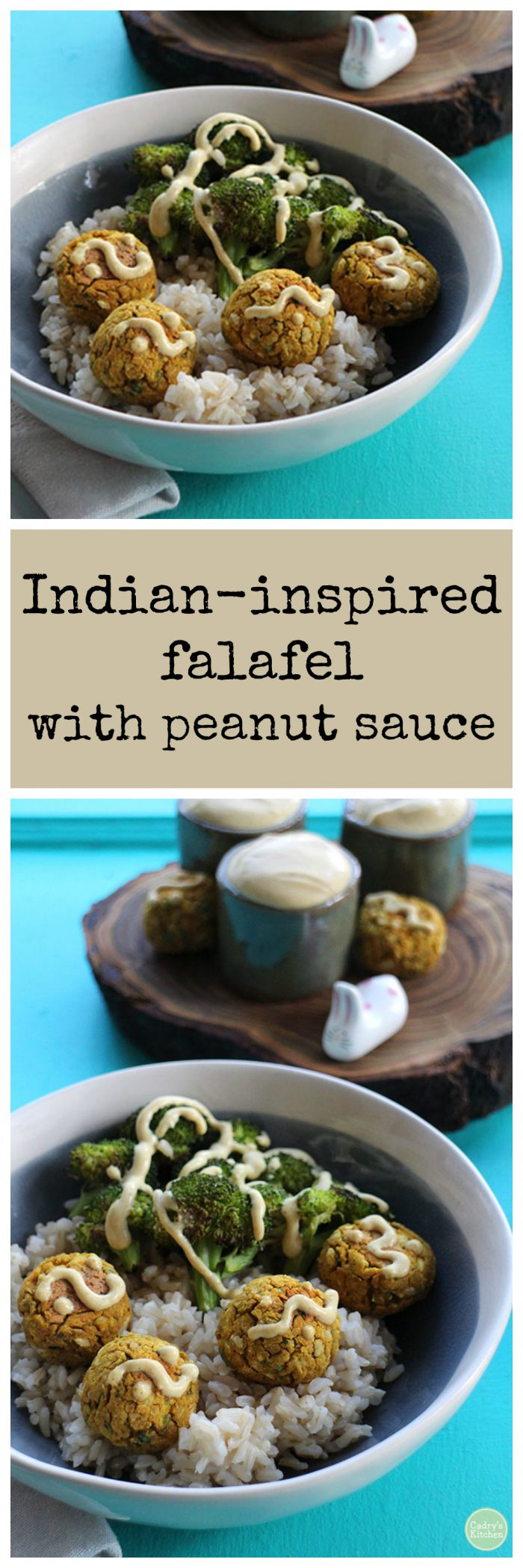 Indian-inspired falafel with peanut sauce and roasted broccoli | cadryskitchen.com #vegan