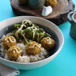 Indian-inspired Falafel Bowl with Roasted Broccoli