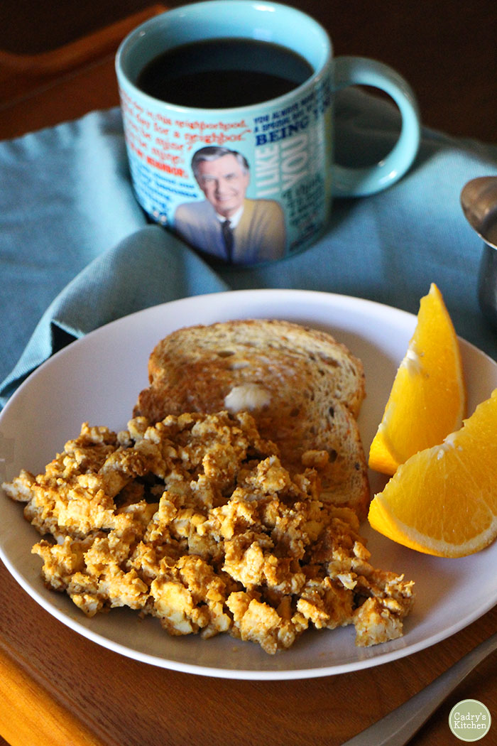 Scrambled tofu & toast for breakfast | cadryskitchen.com #vegan