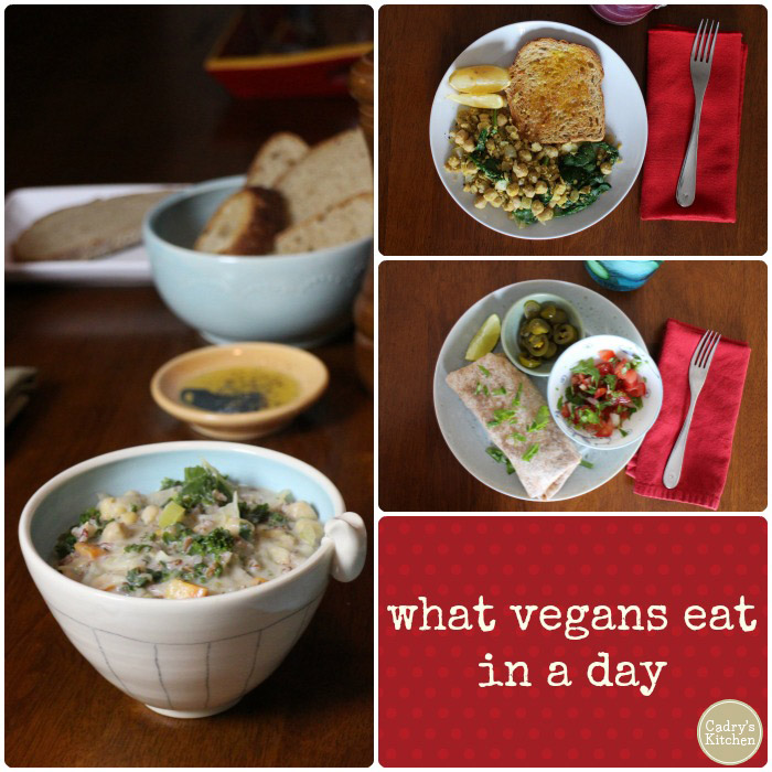 I'm vegan, and here's my food diary for one day. This is what I ate in a day for breakfast, lunch & dinner | cadryskitchen.com #vegan