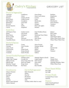 Printable vegan grocery list