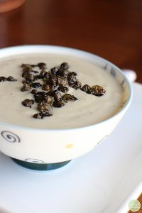 Cauliflower Bisque with Fried Capers recipe + Crossroads by Tal Ronnen | cadryskitchen.com #vegan