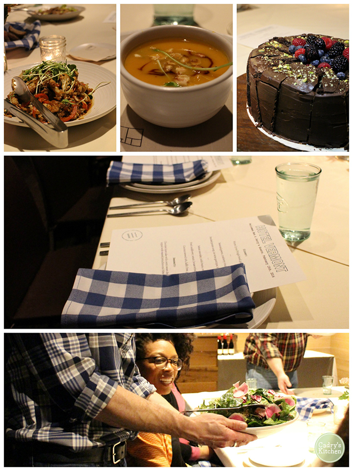 Hotel Vermont dinner collage with menu, soup, and cake.