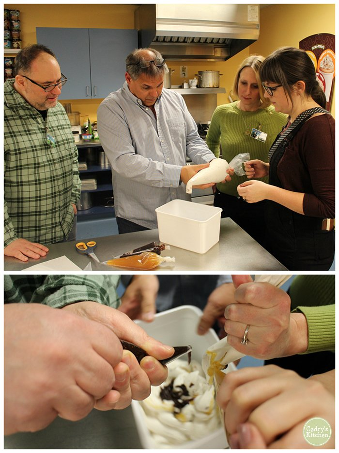 Cadry with others at Ben & Jerry's test kitchen making non-dairy ice cream.