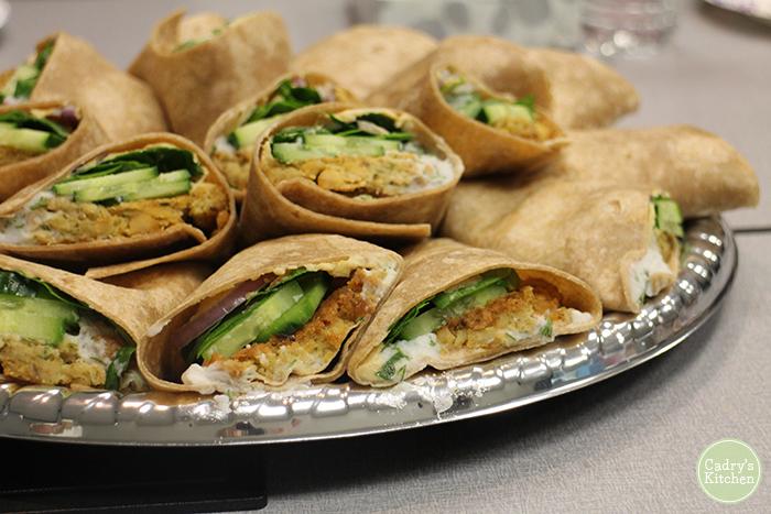 Stowe Street Cafe falafel wraps on platter.