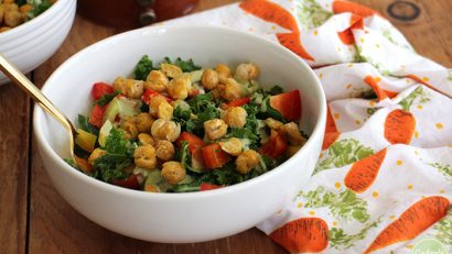 Crave-worthy kale salad with roasted chickpeas & creamy cashew dressing. It's a vegan salad that's hearty enough for lunch or dinner | cadryskitchen.com