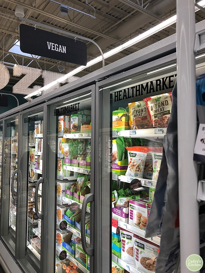 Health Market freezer at Hy-Vee with Gardein products.