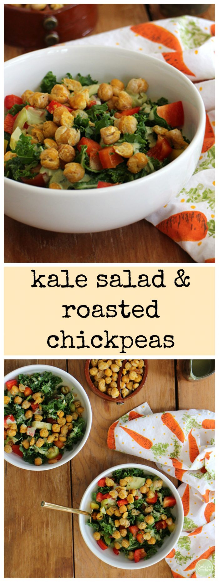 Raw kale salad with roasted chickpeas & creamy cashew dressing - Vegan & gluten-free | cadryskitchen.com