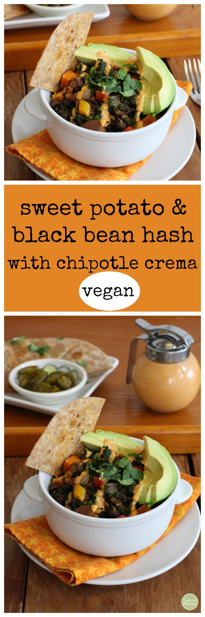 Sweet potato & black bean hash with chipotle crema - vegan | cadryskitchen.com