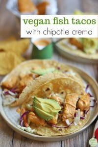 Text inlay: Vegan fish tacos with chipotle crema. Tacos on plate.