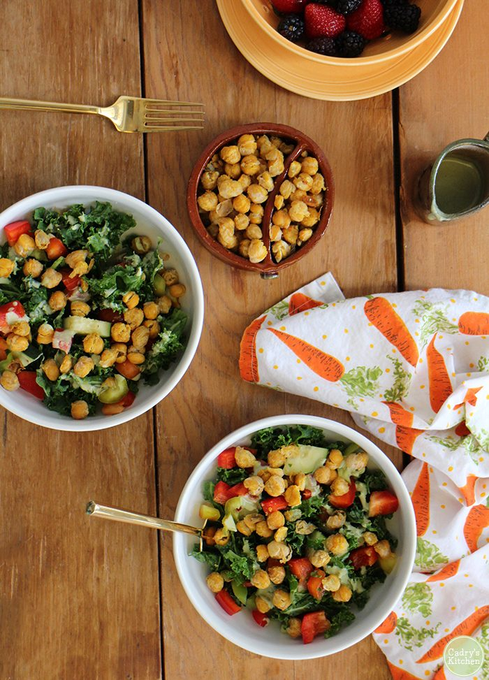Crave-worthy kale salad recipe with roasted chickpeas & creamy cashew dressing. It's a vegan salad that's hearty enough for lunch or dinner | cadryskitchen.com