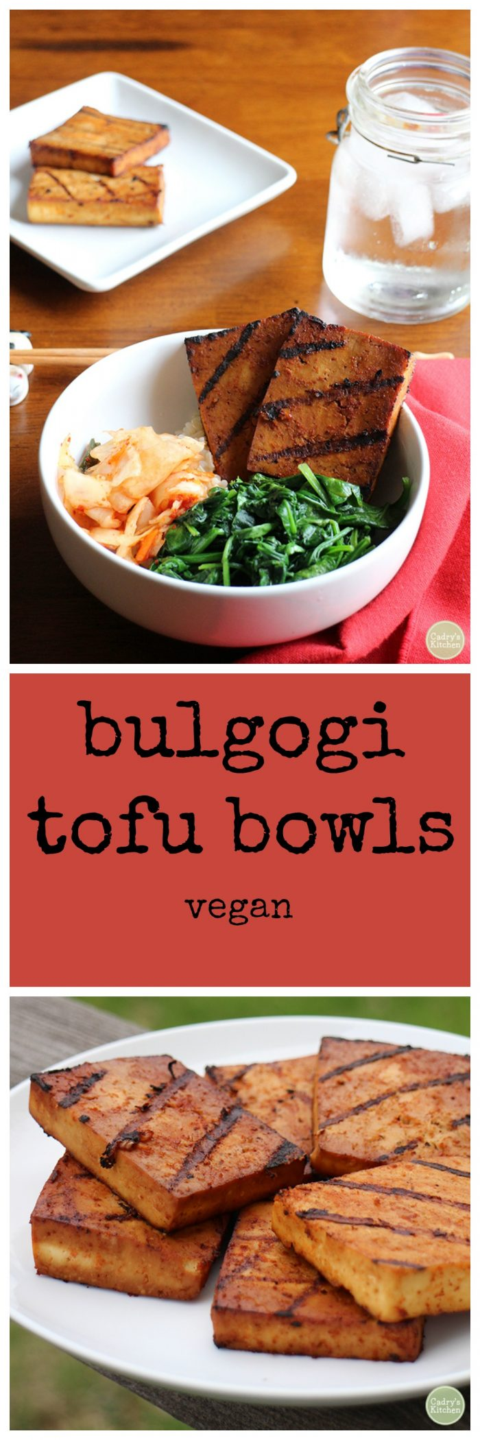 Bulgogi tofu bowls - Korean-inspired vegan bowls with rice, kimchi, sauteed spinach & bulgogi tofu | cadryskitchen.com