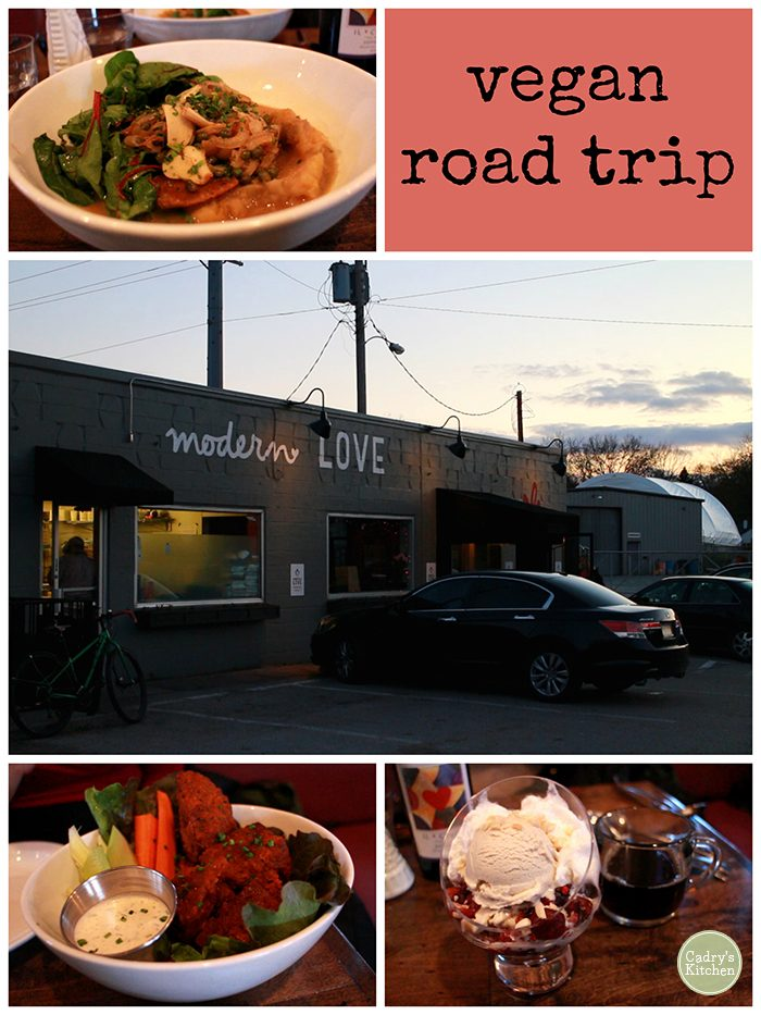 Text overlay: Vegan road trip. Collage with meals and Modern Love Omaha exterior.