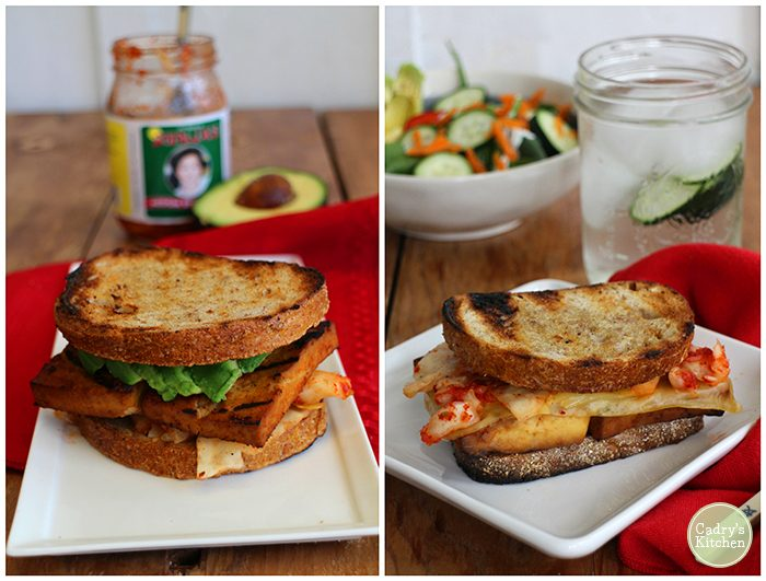 A Korean-inspired kimchi reuben with bulgogi tofu. This flavorful reuben is perfect for grilling season and totally vegan. | cadryskitchen.com